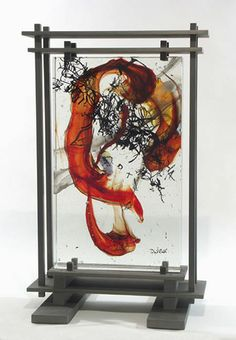 "Fused glass panel by David Ruth  title: Vivaldi Fall  glass & steel  size: 36"" x 23"" x 18""   