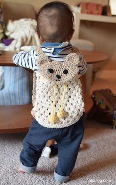 Crochet Bear, Crochet Gifts, Cute Crochet, Baby Blanket Crochet, Crochet For Kids, Crochet Toys, Crochet Backpack, Backpack Pattern, Kids Patterns