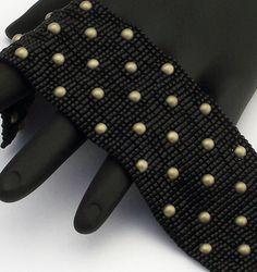 Beaded Bracelet, Studded Narrow, Satin Gold Druk on Black