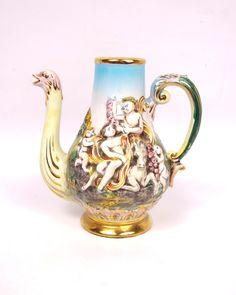 Vintage Capodimonte Porcelain Pitcher Cherubs Nymphs Ostrich Spout Figural Vase Teapot Italian
