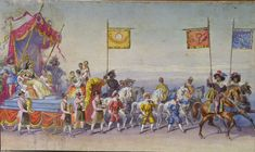 Carol Popp de Szathmari, Allegorical cart of Watchmakers, Goldsmiths and Silversmiths Nautical Flags, 19th Century, Medieval, Hand Painted, Canvas, Painting, Inspiration, Romania, Tela