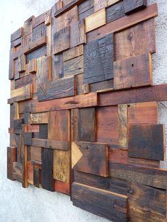 Décoration murale: composition abstraite en vieux bois