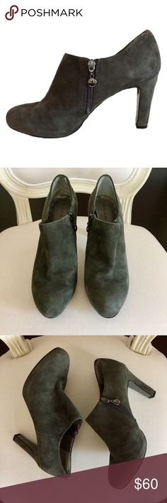 Tahari Gray Suede Ankle Booties Tahari Gray Suede Ankle Booties. Zippers on the inside of the ankle. In great condition and very clean! Size 6.5. Heel height 3.5 in. Let me know if you have any questions! ✅ I LOVE OFFERS ✅ 💜INSTAGRAM: @ocaputostyle Tahari Shoes Ankle Boots & Booties