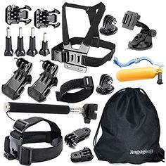 JingXiGuoJi 20-in-1 Accessories Kit/Bundles for GoPro Black Silver Session Hero 5 4 3 2 1 SJ4000 SJ5000 SJ6000