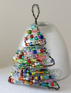 Wire Christmas tree ornament. Great way to use up old beads.