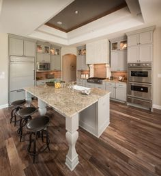 Open-concept kitchen with over-sized island