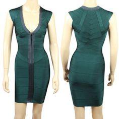 Women's Charming Color Splicing Zipper Front Low-Cut Slimming Bandage Dress, GREEN, S in Bandage Dresses | DressLily.com