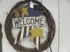 patriotic welcome star wreath by judypope on Etsy, $15.00
