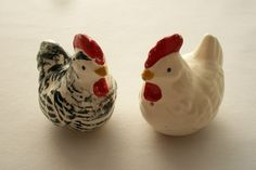 Vintage Ceramic Chicken Set Of Salt and Pepper Shakers Shabby Chic, Farmhouse, Cottage Chic. $10.00, via Etsy.