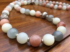 Magical! Sunstone, Moonstone and Silver Stone Angel Healing Necklace. Elegant! Stunning!