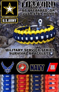 Military Service Survival Bracelets from LifecordGear.com...PHOTO ONLY...dead link