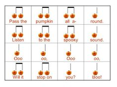 O For Tuna Orff: Fall Favorites. Links to tons of great songs and activities for fall in the elementary music room. Includes visuals to use with the songs! Great resource.