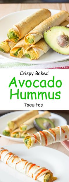 Avocado hummus taquitos are tortillas with hummus, sliced avocado, and shredded cheese rolled into small tubes; and baked until crunchy. Vegetarian, vegan if you take out the cheese Avocado Hummus, Baked Avocado, Avocado Food, Avocado Uses, Avocado Rice, Avocado Salads, Avocado Dessert, Ham Salad, Farro Salad