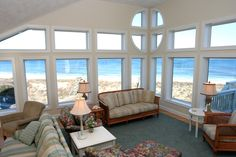 "The living room of ""Sea Gypsy"" overlooking the ocean.  Awesome!"