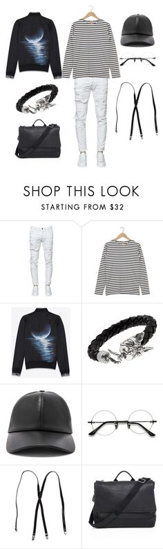 """Black And White_1"" by laae ❤ liked on Polyvore featuring Dsquared2, Armor-Lux, Yves Saint Laurent, Manuel Bozzi, BUSCEMI, EyeBuyDirect.com, Shinola, men's fashion and menswear"