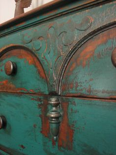 European Paint Finishes: Peacock Green Sideboard ~ Love this!