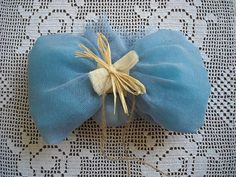 Blue linen bow christening  baptism favor by FavorsAndMorebyFiona, $3.35
