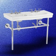 Double Sinks White Vitreous China, Double Bistro Chrome Frame 8 inch