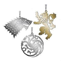 3.5 Game of Thrones Taragaryen Family Metal Crest Decorative Christmas Ornament @ niftywarehouse.com