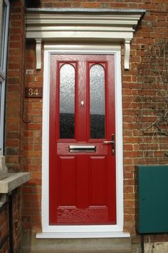 2 Panel 2 Square 1 Arch Abstract Composite Front Door in Red Red