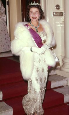 Queen Elizabeth II at the Belgian Embassy, looking stunning in diamonds and sequins.