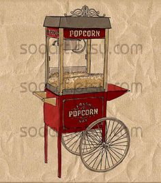 popcorn Cart for Street old time-SooArt Original Illustrate Drawing  A4 Print on Pillows, t-shirts, scrapbook, lampshades  ETC.