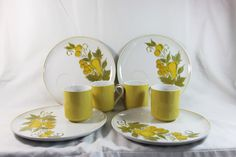 Vintage Jonas Roberts Cera-Stone Golden Valley Snack Plates and Cups, Set of 4 by GRCTreasures on Etsy