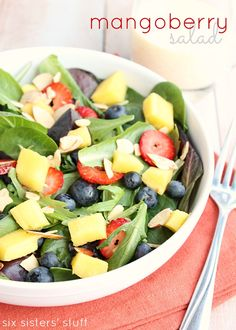 Mango Berry Salad from Six Sisters' Stuff is a healthy lunch or dinner idea! You will love it!