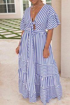Shyfull Sweet V Neck Striped Ankle Length Dress Looks Plus Size, Look Plus, Casual Dresses, Fashion Dresses, Summer Dresses, Maxi Dresses, Party Dresses, Evening Dresses, Linen Dresses