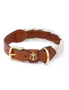 The Knotty Dog collar - Each braided collar is bench-made by skilled New England craftsmen from the finest vegetable tanned Pennsylvanian top-grain leather and rope braided right here in Coastal New England.