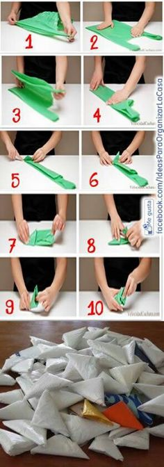 How to fold plastic bags - About Wedding Fold Plastic Bags, Plastic Bag Storage, Home Organisation, Organization Hacks, Folding Fitted Sheets, Diy Hanging Shelves, Ideas Para Organizar, Konmari, Organizing Your Home