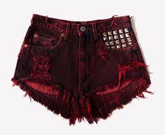 Scarlett Vintage Frayed Studded Shorts