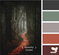 Dark gray, grayish green, medium warm gray, persimmon, dark plum.