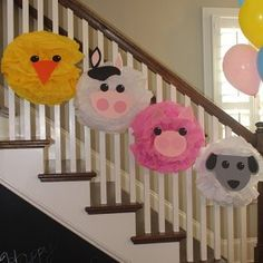 Cow tissue paper pompom kit Old MacDonald farm party Party Animals, Farm Animal Party, Farm Animal Crafts, Farm Animal Birthday, Barnyard Party, Farm Birthday, First Birthday Parties, Birthday Party Themes, First Birthdays