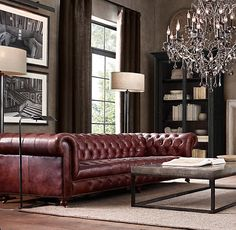 Brown Leather Chesterfield Sofa In Living Room Chesterfield Living Room, Living Room Sofa, Living Room Interior, Living Room Furniture, Home Furniture, Living Room Decor, Furniture Design, Cheap Furniture, Chesterfield Library
