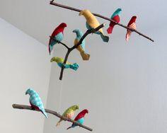 Bird Mobile  Aqua Blue / Orange / Red / Lime Green by SewnBuddies, $69.00