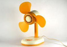Cream white and orange fan working condition plastic by RetroRetek
