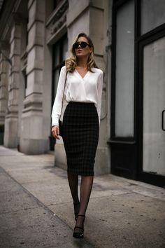 Memorandum | WHITE BLOUSE: Rag & Bone  |  PLAID MIDI SKIRT: A.L.C.  |  MARY JANE PUMPS: Jimmy Choo (sold out, also love these!)  |  CAT EYE SUNGLASSES: sold out, similar HERE  |  DIAMOND BEZEL NECKLACE: c/o AUrate  |  BAR DROP NECKLACE: c/o AUrate  |  GEOMETRIC BAR EARRINGS: c/o AUrate  |  TRIBAR CUFF: c/o AUrate