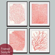 Underwater Sea Coral Collection (Series C) Set of 4 - 11x14 Art Prints (Featured in Coral Rose on Soft Cream) Nautical Inspired Art Prints