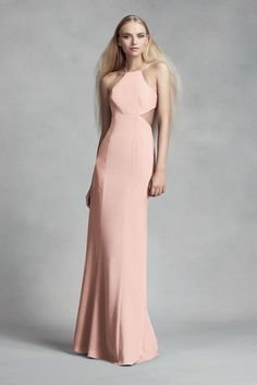 Crepe Cutaway Bridesmaid Dress with Illusion Sides Style VW360316
