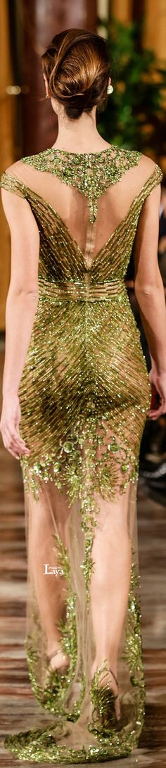 Toufic Hatab ~ Couture Spring Beaded Gown, Multi Green 2015
