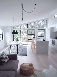 Loft - Apartment - White - Black - Grey - Modern - Kitchen - Eating Area - Lounge