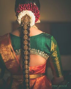 "1,656 Likes, 1 Comments - @thegorgeousbride on Instagram: ""This gorgeous bride is giving us some major bridal hairstyle goals! Gold jadai with Lakshmi motif…"""