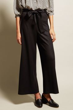 No.6 Karin Wide Leg Pant in Black Double Knit