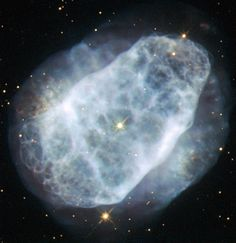 Planetary nebula NGC 6153. Located 4000 light years away in the constellation Scorpius. It's the remains of a Sun-like star after it has used up most of its fuel. The outer layers of the star are ejected, and get excited & ionised by UV light from the star's bright hot core. Unusually, the nebula contains lots of neon, argon, oxygen, carbon and chlorine — up to three times more than in the Solar System. And a whopping five times more nitrogen than the Sun! (Credit: ESA/Hubble & NASA)