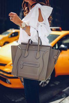 Celine mini luggage bag / street style #desginerbag #luxury #streetstyle #fashion #celine #celinebag / Pinterest: fromluxewithlove