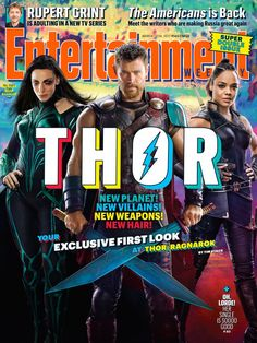 EW has shared their first look at the upcoming Thor movie. Check out a close-coiffed Thor (Chris Hemsworth), Valkyrie (Tessa Thompson), David Banner (Mark Ruffalo), Loki (Tom Hiddleston), The Grandmaster […] Chris Hemsworth Thor, Tessa Thompson, Entertainment Weekly, Cate Blanchett, Dc Movies, Marvel Movies, Avengers Movies, Cast Of Thor, New Thor