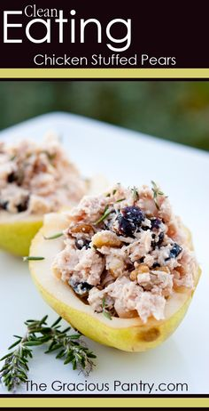 Clean Eating Chicken Stuffed Pears - I would count this as 30 gms per serving, but what a great way to spend your carbs for the day, refreshing for lunch on a warm day.