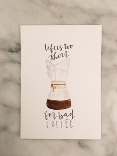 5x7 original coffee painting chemex