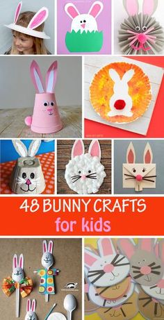 48 Bunny crafts for kids to make this spring and Easter. Use footprint, handprint, paper plates, foam cups, egg carton, paper rolls, pine cones to make garlands, decorations, hats, masks and more. #eastercrafts #easterbunny #springcraft #bunnycrafts